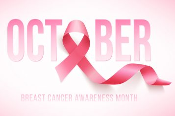 October – breast cancer awareness – month and ribbon
