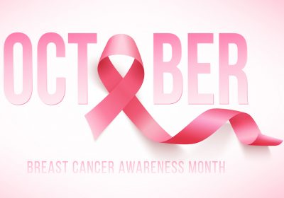 October - breast cancer awareness - month and ribbon