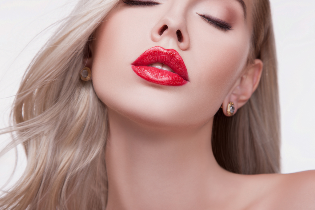 girl with red plump lips