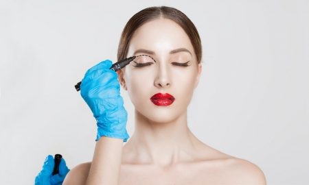 Woman getting eyelid surgery