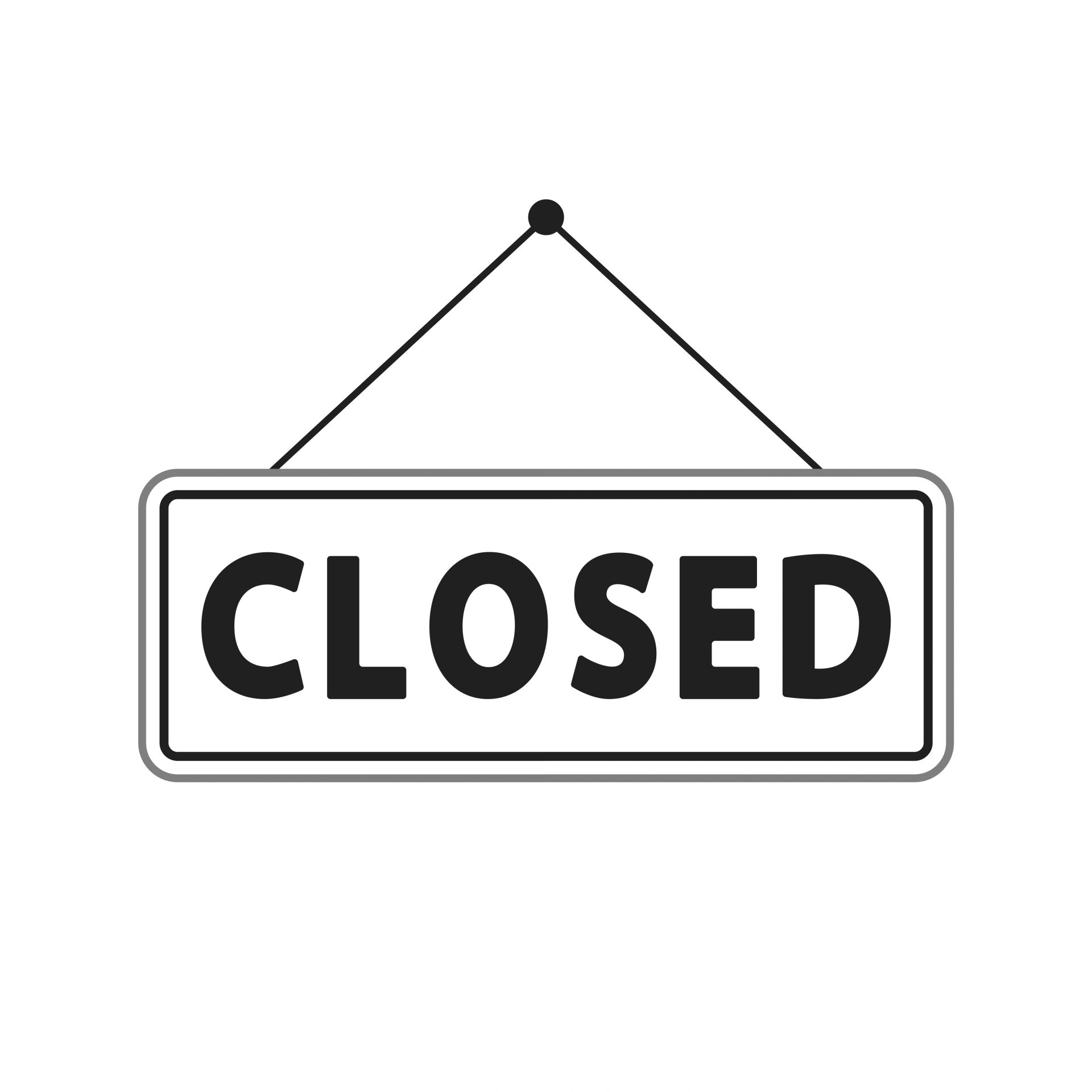social distance - closed sign - shutterstock_1589773813