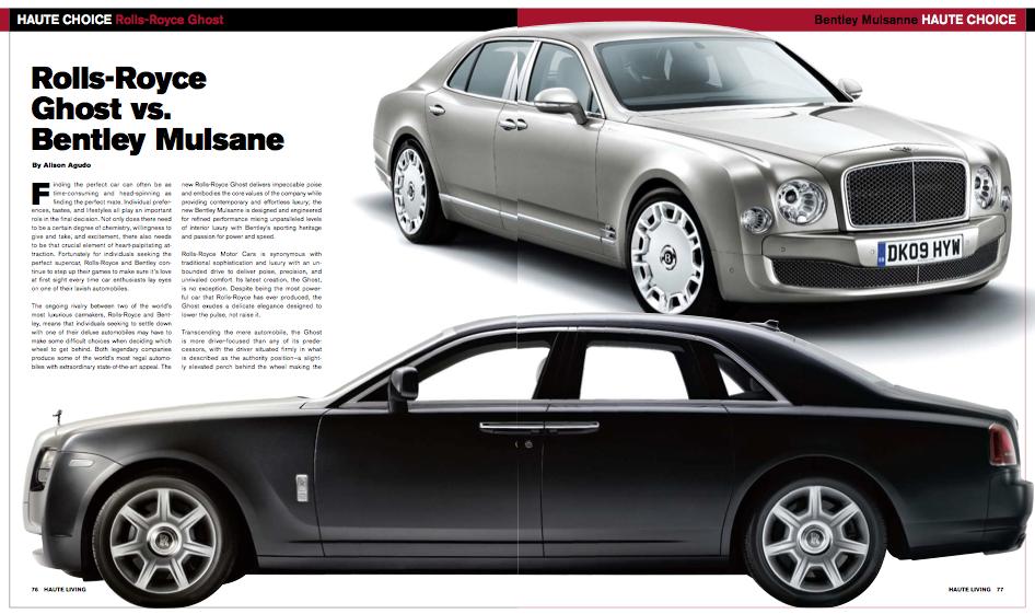 Rolls-Royce Ghost vs. Bentley Mulsanne - Haute Living