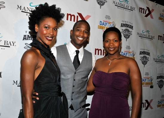 (L-R) Kissy Simmons, Jelani Remy and Bugi Zami from The Lion King at Mandalay Bay arrive at the Official pre-party for the 2010 Daytime Entertainment Emmy Awards at miX at THEhotel at Mandalay Bay on June 26, 2010 in Las Vegas, Nevada.