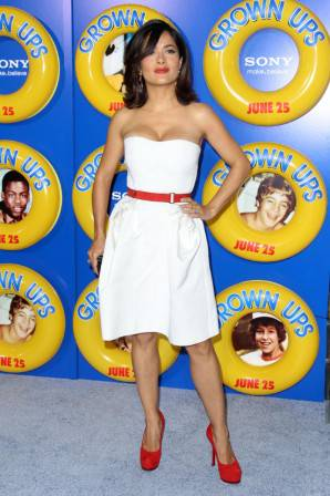 Salma Hayek in Yves Saint Laurent at Columbia Pictures Present a Special Screening of Grown Ups
