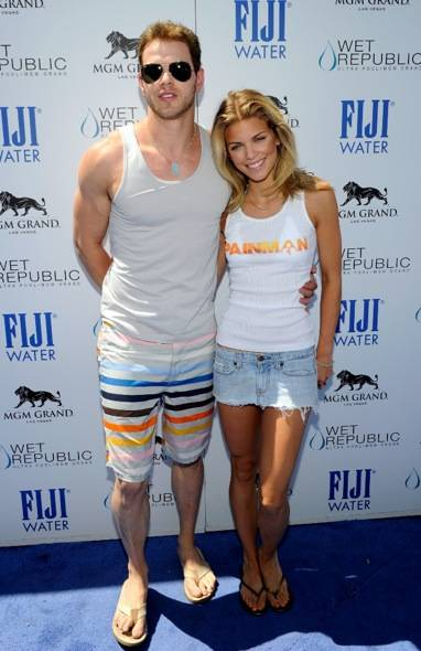 AnnaLynne McCord and Kellan Lutz on Blue Carpet at WET REPUBLIC, Las Vegas