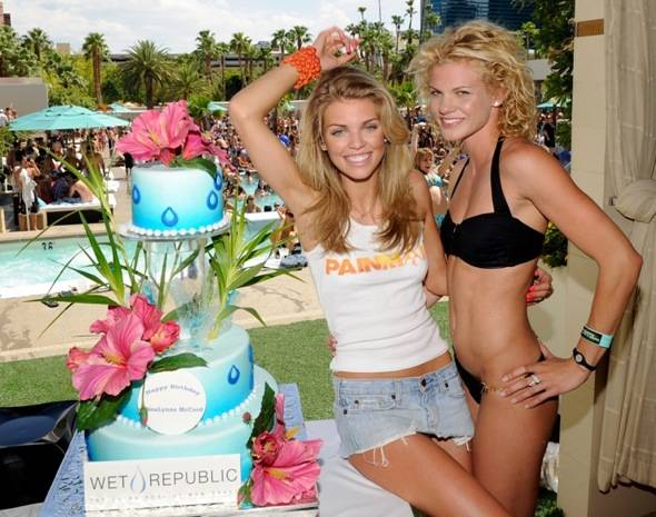 AnnaLynne and Angel McCord with Birthday Cake at WET REPUBLIC_L