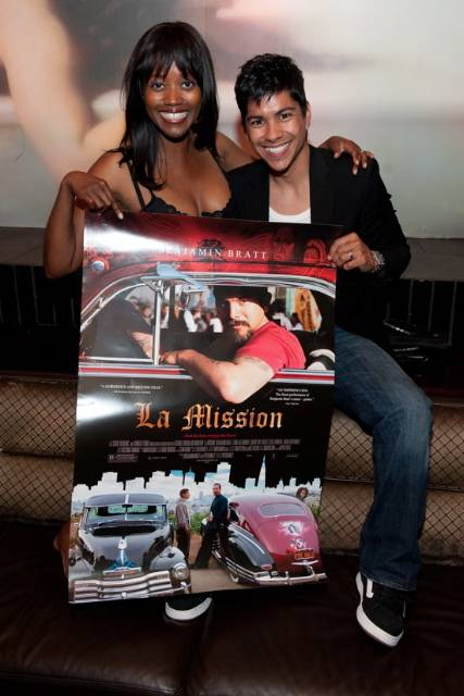 Erika Alexander & Jeremy Ray Valdez with La Mission poster at LAVO-smaller