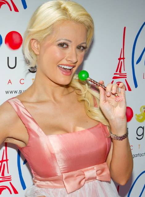 Holly Madison Poses with Sugar Factory's Vegas Couture Pop (Erik Kabik)