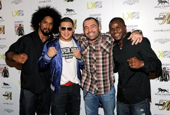 Jamie Yager, Diego Sanchez, Joe Rogan and Melvin Guillard on Red Carpet at Studio 54, Las Vegas, July 3