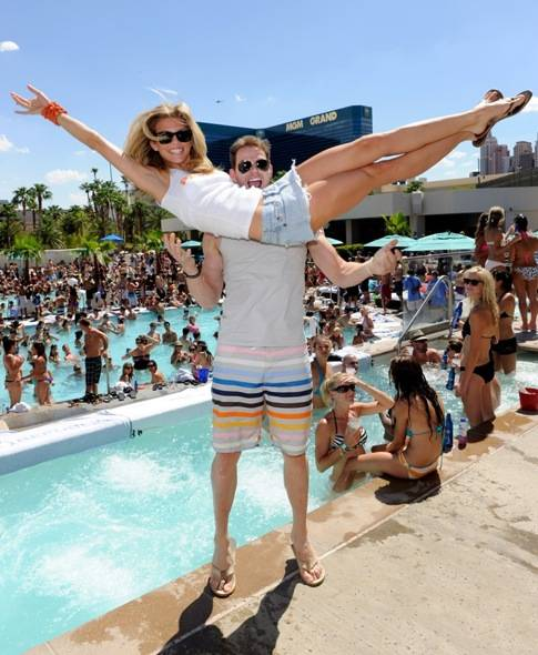 Kellan Lutz throws AnnaLynne McCord at WET REPUBLIC, Las Vegas