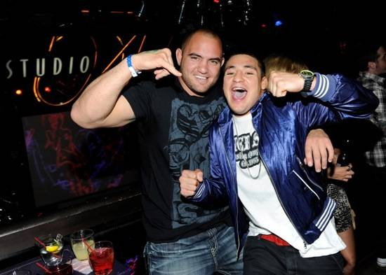 Travis Browne and Diego Sanchez in Studio 54 at Silver Star Pre-Fight Party, Las Vegas, July 3