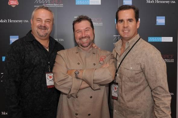 1037-GMCVB Chair,Steve Haas,Chef Allen Susser, &amp_ Rolando Aedo of the GMCVB