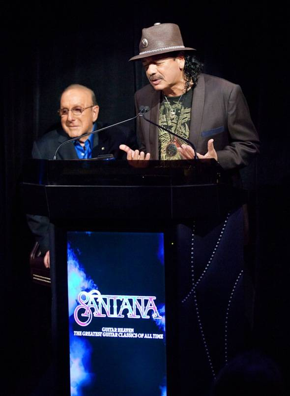 Clive Davis and Carlos Santana at VIP Listening Event at Vanity Nightclub- credit Erik Kabik RETNA erikkabik.com