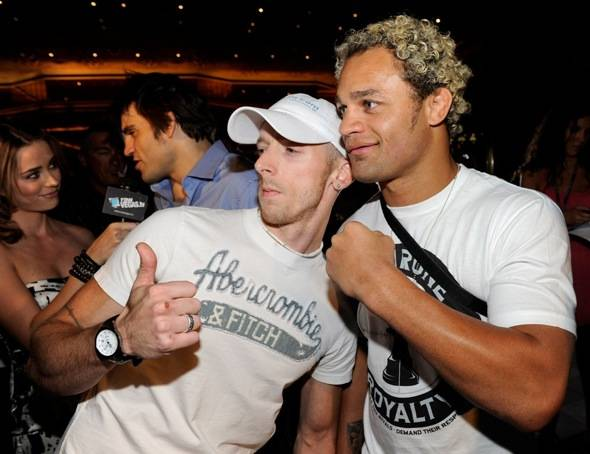 Fan Dustin James with Josh Koscheck outside Tabu