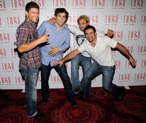 Josh Thomson, Jon Fitch, Josh Koscheck and Phil Baroni joking on the carpet