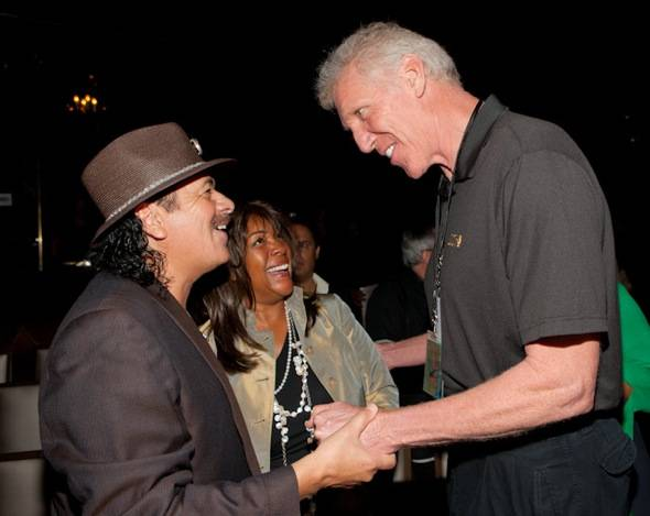 (L-R) Carlos Santana, Mary Wilson and Bill Walton at VIP Listening Event Red Carpet- credit Erik Kabik RETNA erikkabik.com