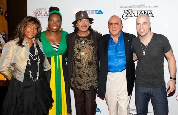 (L-R) Mary Wilson, india.arie, Carlos Santana, Clive Davis & Chris Daughtry - credit Erik Kabik RETNA erikkabik.com