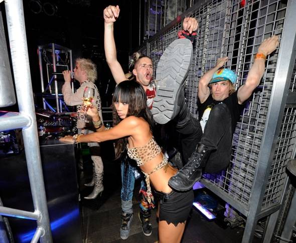 Semi Precious Weapons and Bai Ling in DJ Booth at Studio 54, Las Vegas 8.13.10