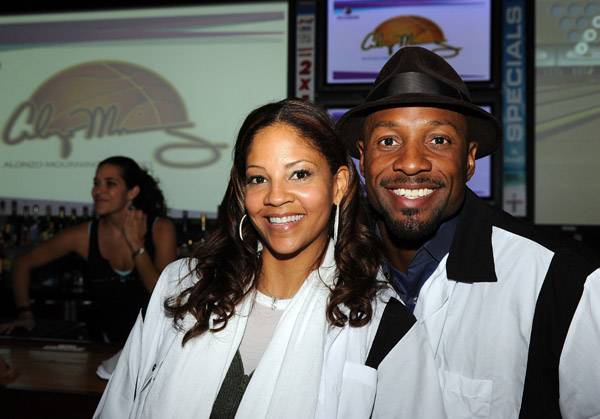 Miami Heat basketball player Alonzo Mourning and wife Tracy Mourning participate in Zo's King Pin Classic to benefit Honeyshine Mentoring program at Lucky Strike Lanes on January 22, 2009 in Miami Beach, Florida. Alonzo Mourning officially announced his retirement from the NBA earlier in the day.