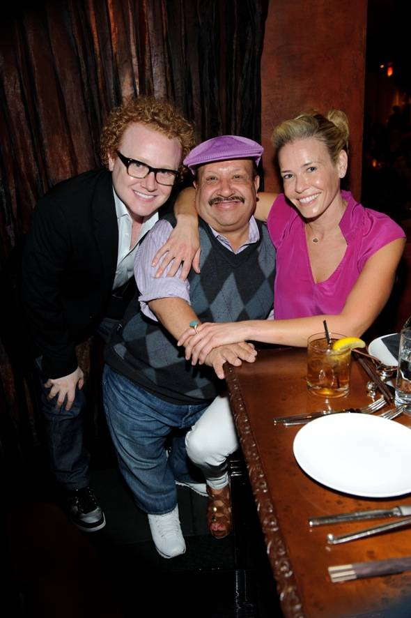 Brad Wollack, Chuy Bravo and Chelsea Handler at TAO