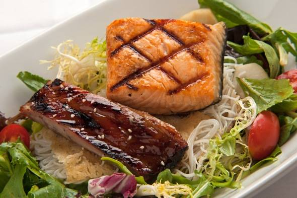 RedFarm. Rice Noodles & Asia Green Salad w. BBQ Spare Rib and Salmon