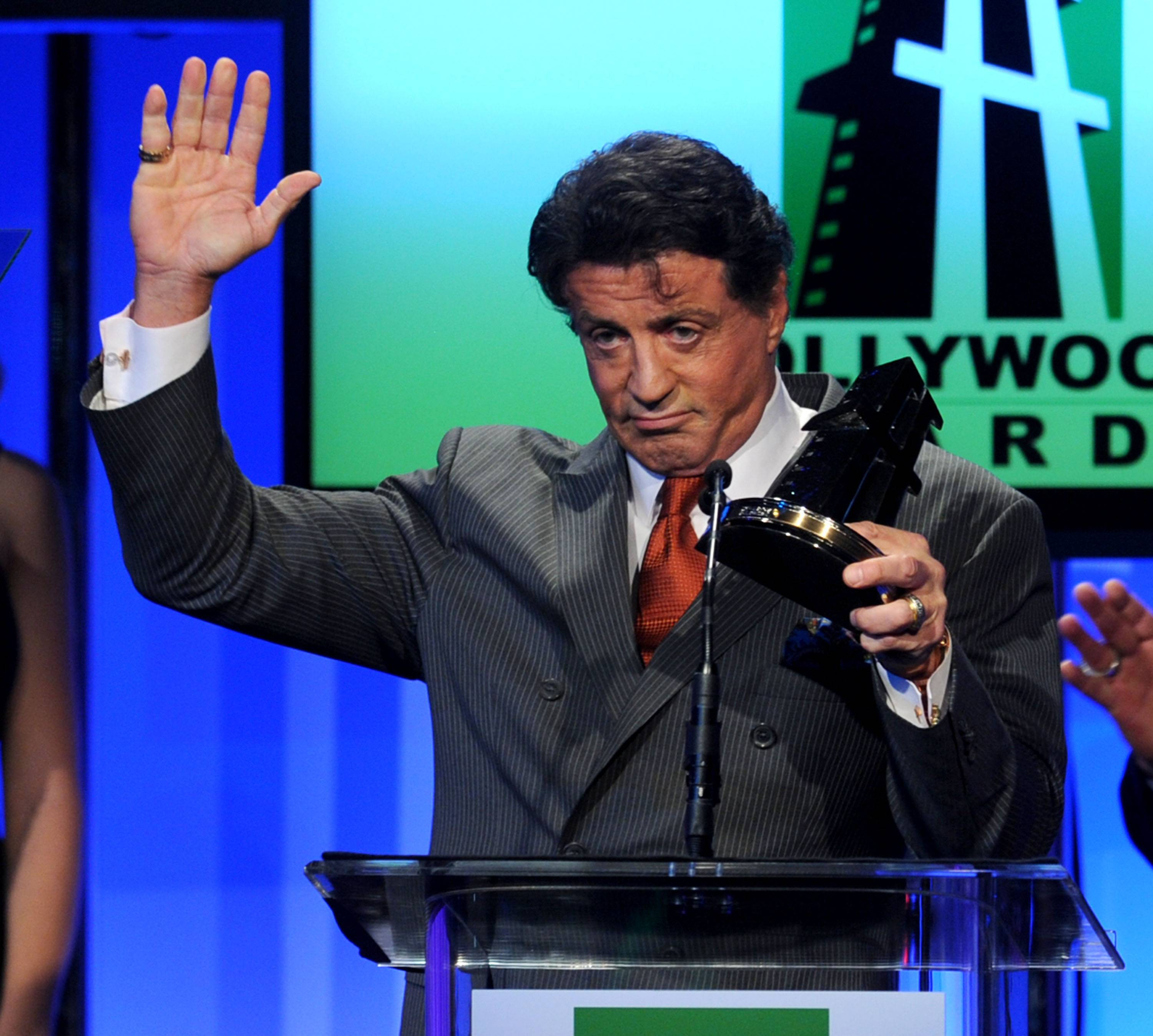 Actor/producer Sylvester Stallone accepts the Hollywood Career Achievement Award onstage during the 14th annual Hollywood Awards Gala at The Beverly Hilton Hotel on October 25, 2010 in Beverly Hills, California.