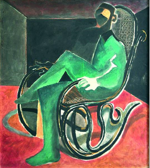 Ahmed Moustafa-Man in Rocking Chair-Bohnams Dubai Auction