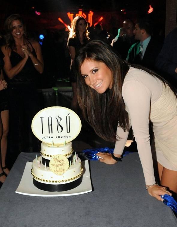Ashley Tisdale with Birthday Cake at Tabu Ultra Lounge, Las Vegas 10.2.10