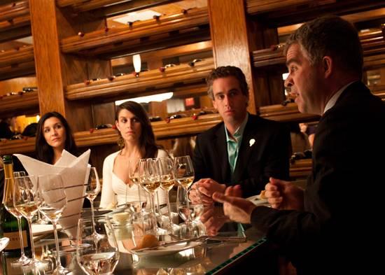 Olivier Krug addresses guests at Krug luncheon at The Forge