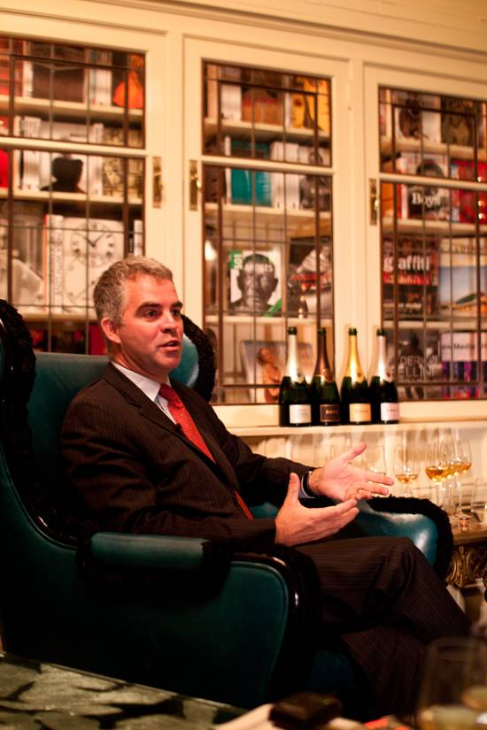 Olivier Krug speaks in the library at The Forge