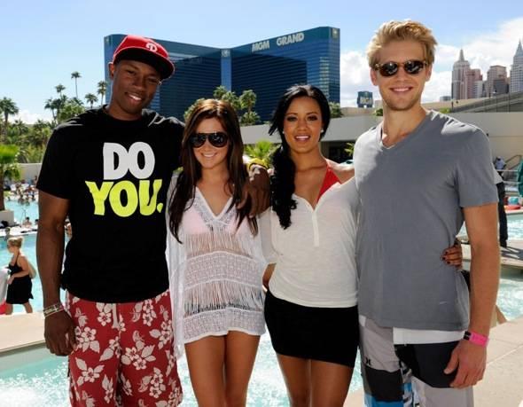 Robbie Jones, Ashley Tisdale, Heather Hemmens and Matt Barr at WET REPUBLIC, Las Vegas 10.3.10