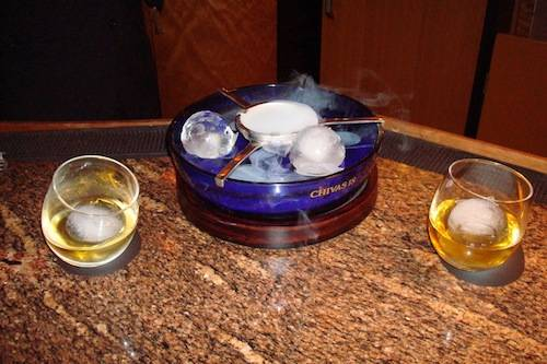 Chivas 18 premium scotch uses spheres of dry ice that allow the whisky to be served chilled without getting diluted too quickly.