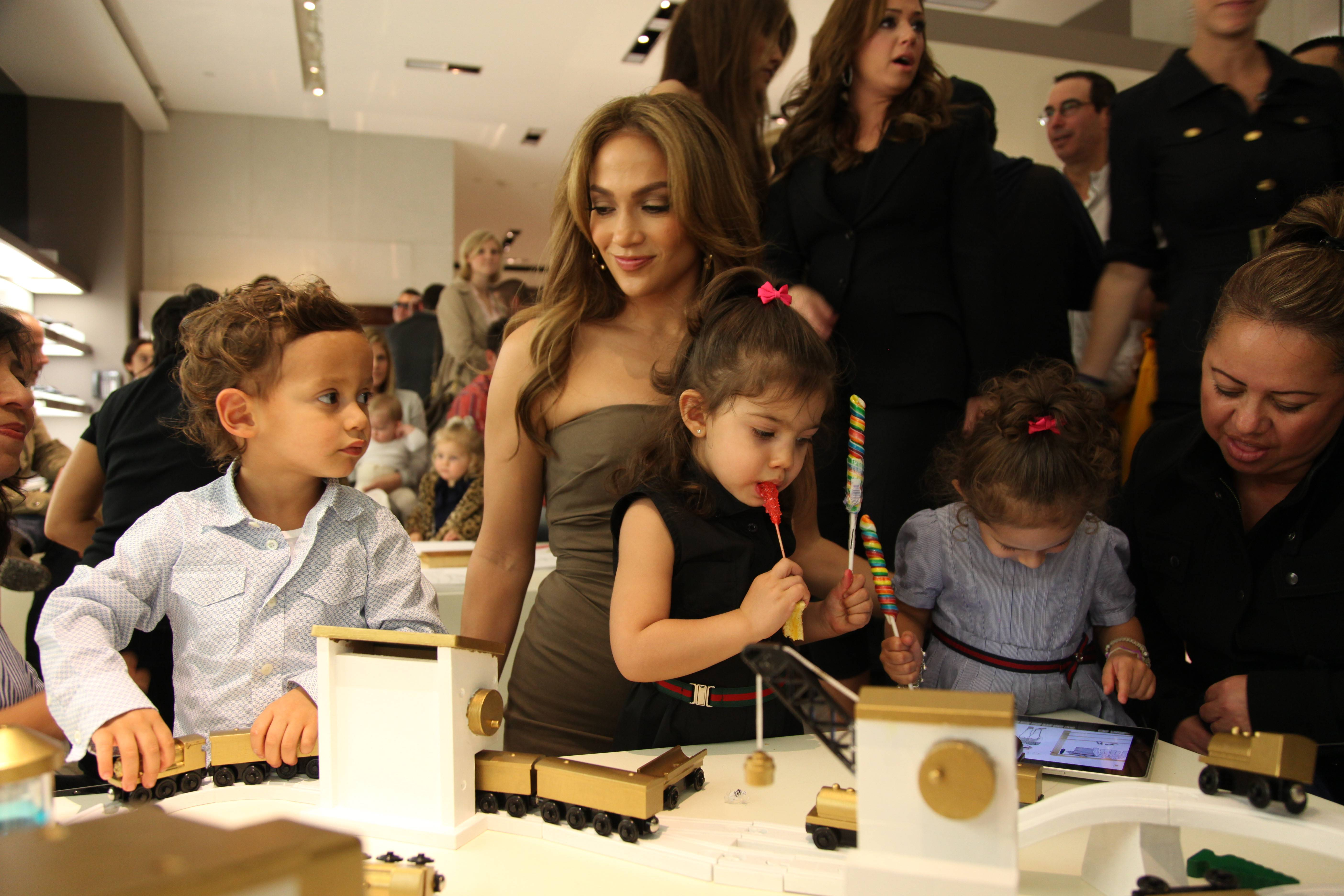 Jennifer Lopez with son Max, niece Lucie and daughter Emme