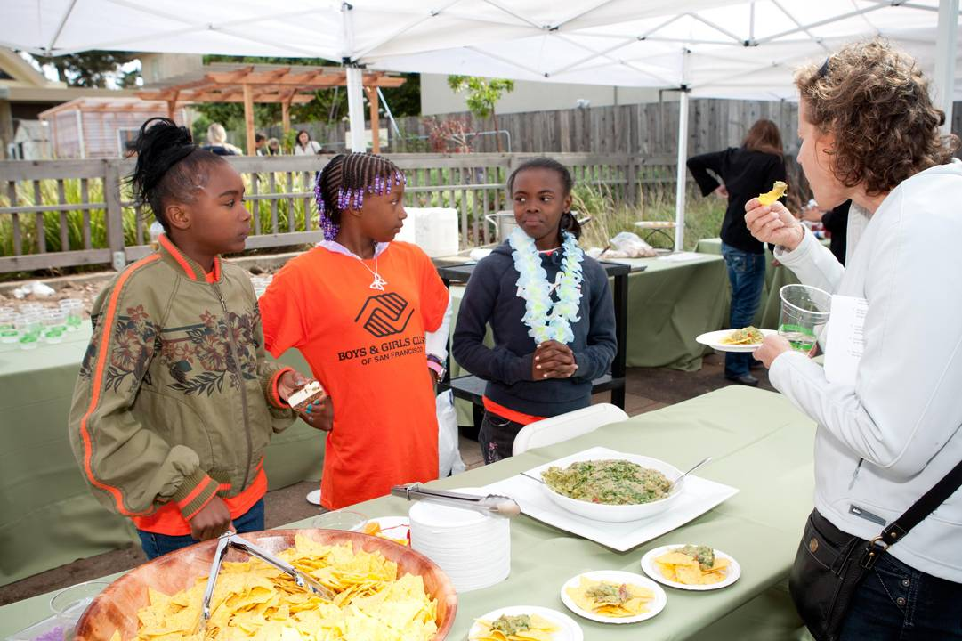 Johnesha-Mack,-Rosanna-Morris,-and-Ariana-Stevens-at-The-Edible-Schoolyard-at-Hunters-Point-Garden-Celebration