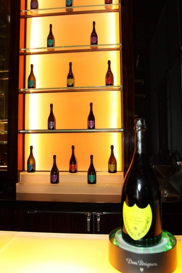 Mandarin Bar featuring bottles of A Tribute to Andy Warhol 2000 vintage by Dom Pérignon