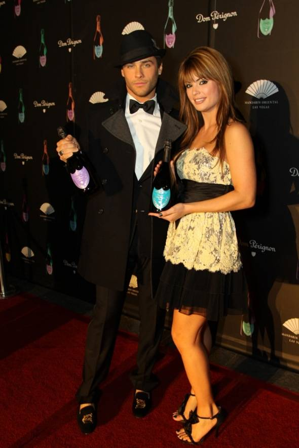 Mandarin Oriental, Las Vegas guests Josh Strickland and Laura Croft, co-stars of E! Channel's Holly's World