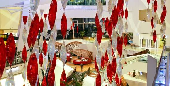 Crystals at CityCenter – Holiday decorations – The Pods aerial