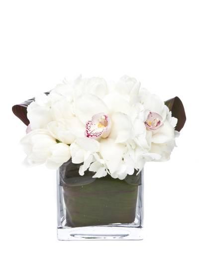 Hydrangea, White Tulips, Cymbidium Orchids