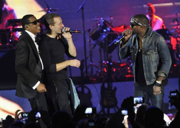 Image 5 - JAY-Z, Chris Martin & Kanye West perform at The Cosmopolitan of Las Vegas NYE & Grand Opening Celebration. Credit Kevin MazurWireimage