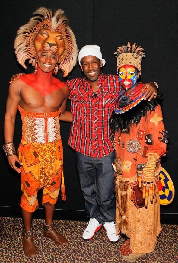 Jelani Remy as Simba, Boyz II Men's Shawn Stockman, Buyi Zama as Rafiki backstage at THE LION KING Las Vegas, 1.3.11
