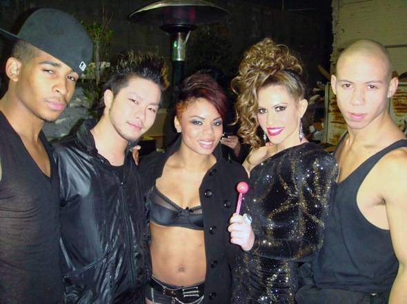 Kimberly Cole and her dancers back stage after her performance on NYE 2011 at Oxygen, SBE and NightVision Entertainment's event in Los Angeles