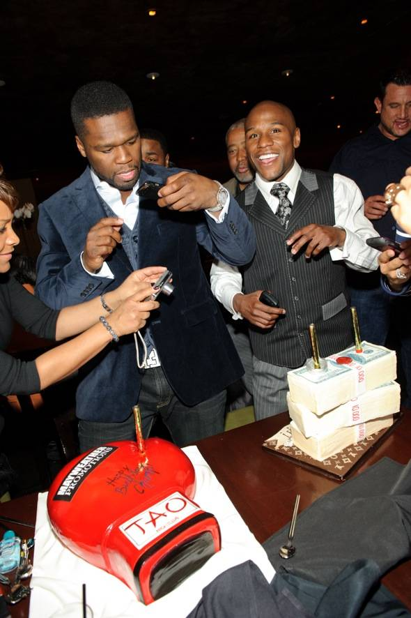 50 Cent and Floyd Mayweather at TAO LV