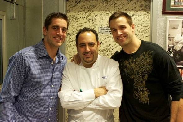 Aaron Rodgers, Chef Barry, Matt Wilhem at N9NE Steakhouse-credit 9 Group