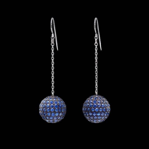 MirrorBall earrings-Sapphire