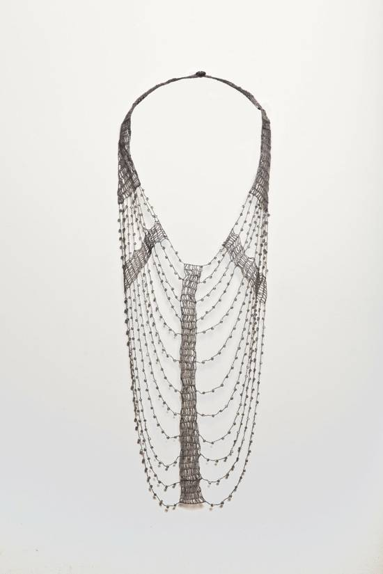 Shirley Ephraim for Donna Karan Crystal and Silk Lace Armor Necklace