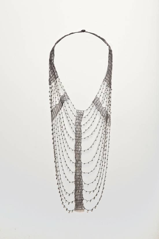 Shirley Ephraim for Donna Karan Crystal and Silk Lace Armor Necklace