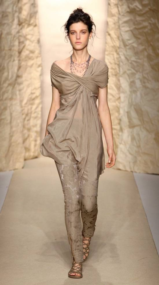 Shirley Ephraim for Donna Karan Draped Silk Crochet Chain Necklace in -Hemp- Runway