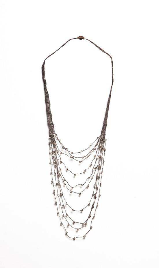 Shirley Ephraim for Donna Karan Draped Silk Crochet Chain Necklace