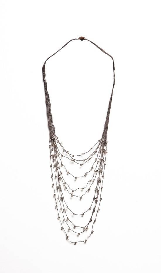 Shirley Ephraim for Donna Karan Draped Silk Crochet Chain Necklace