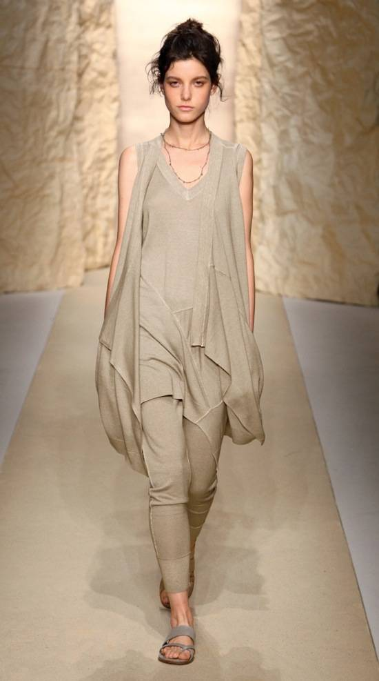 Shirley Ephraim  for Donna Karan Hand Distressed Silk Crochet Chain Lariat in -Hemp- Runway 1